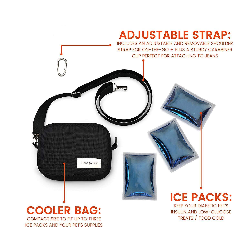 SitStayGo Insulated Pet Food & Medicine Travel Cooler Bag, Black