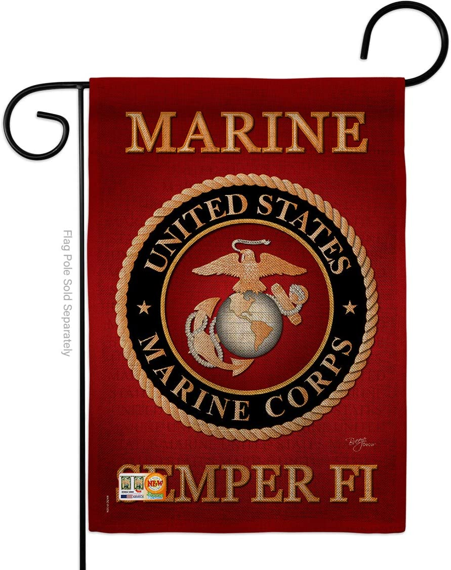 Marine Corps Burlap Garden Flag Armed Forces USMC Semper Fi United State American Military Veteran Retire Official Small Decorative Gift Yard House Banner Double-Sided Made In USA 13 X 18.5