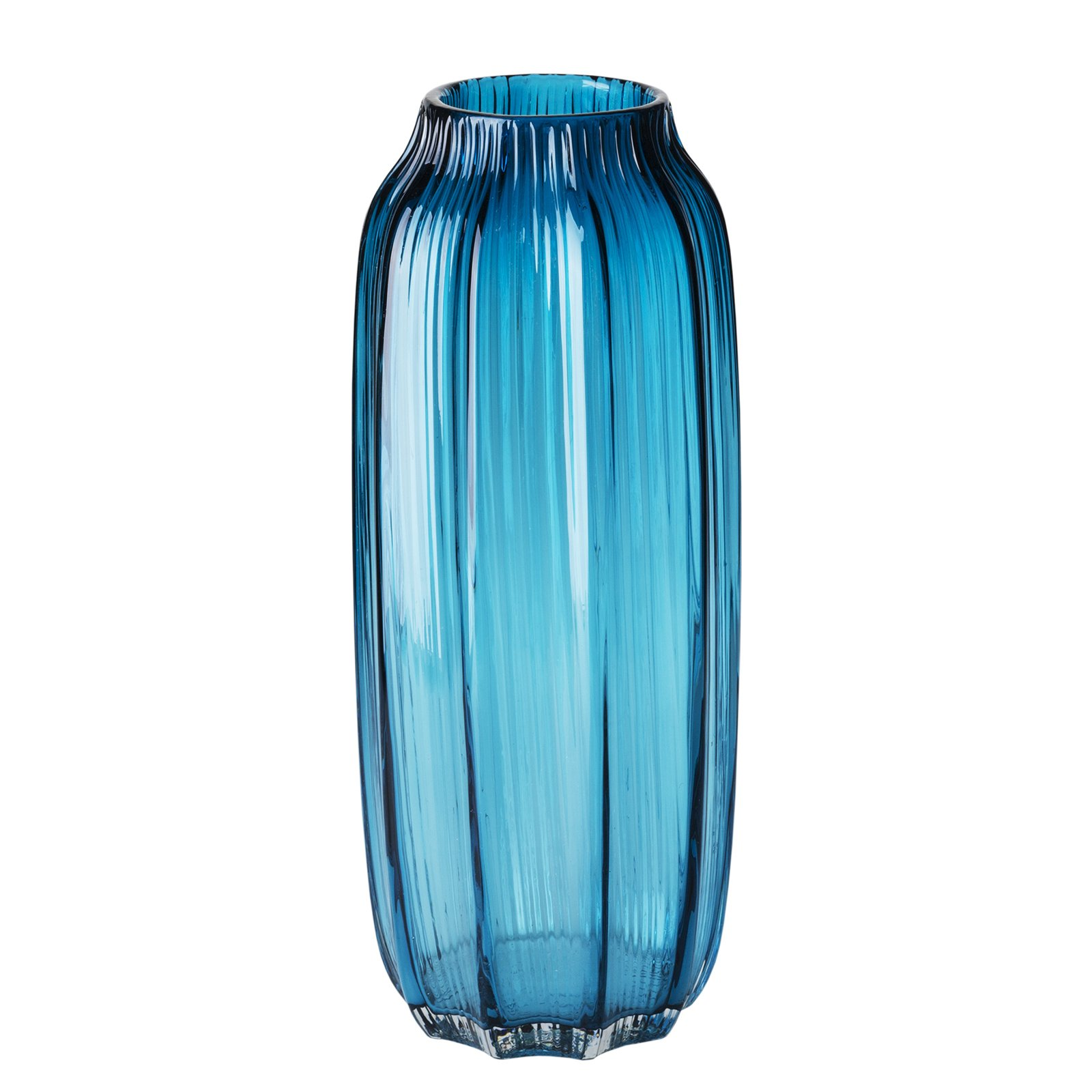 CASAMOTION Vases Hand Blown Solid Color Home Decor Centerpieces Gift Art Ribbed Glass Vase, Blue, 12''