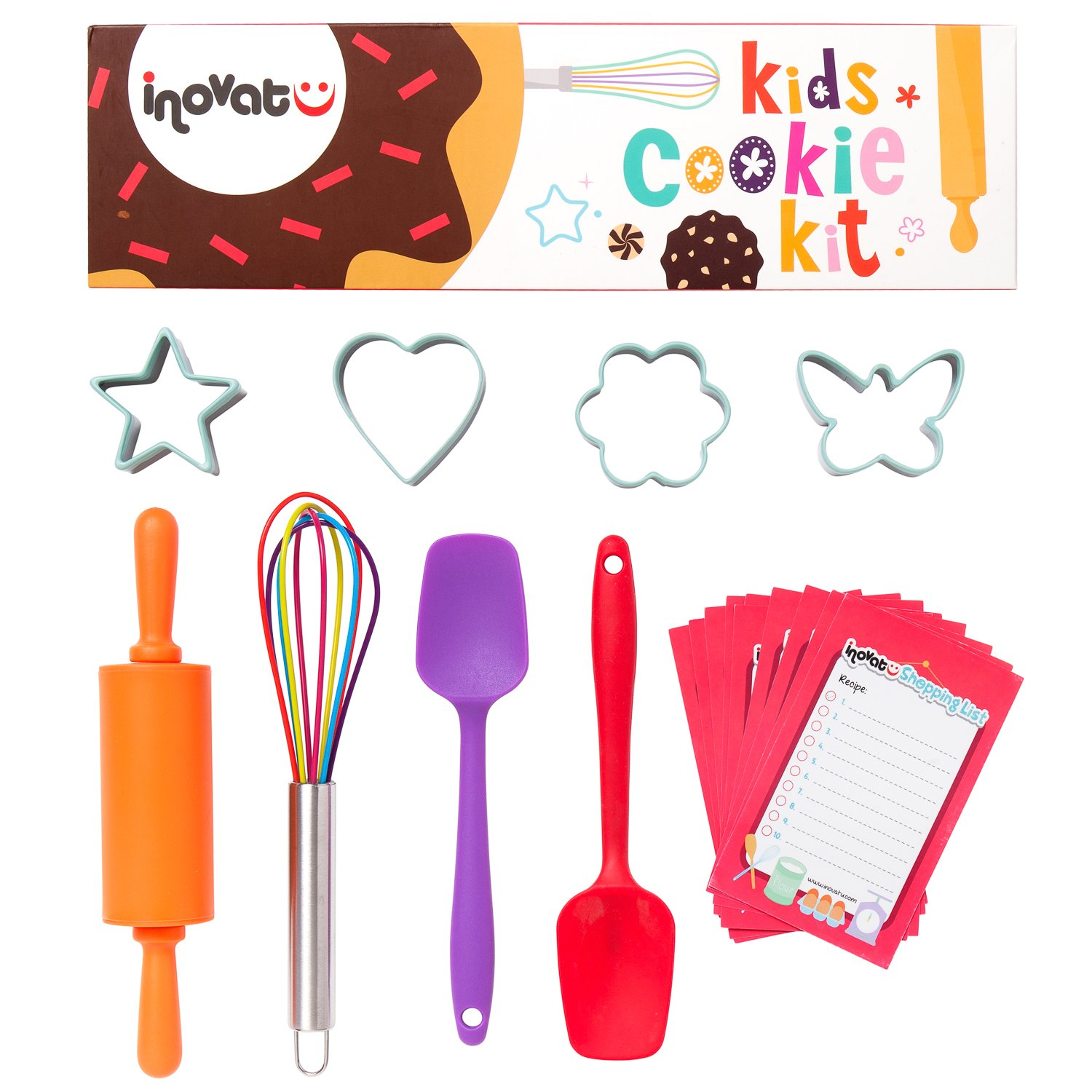 Kids Cookie Kit / 8 Pieces / Colorful Gift Box / Perfect Kids Baking Set / Quality Whisk, Cookie Cutters, Spatulas and Roller / Bonus Shopping Lists and Coupon