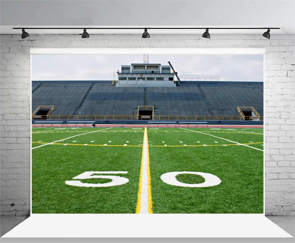 YEELE Football Stadium Backdrop 10x8ft Fifty Yard Line in Football Field Photography Background Super Bowl Party Sport Theme Rugby Match Team Game Pictures Photobooth Prop Digital Wallpaper