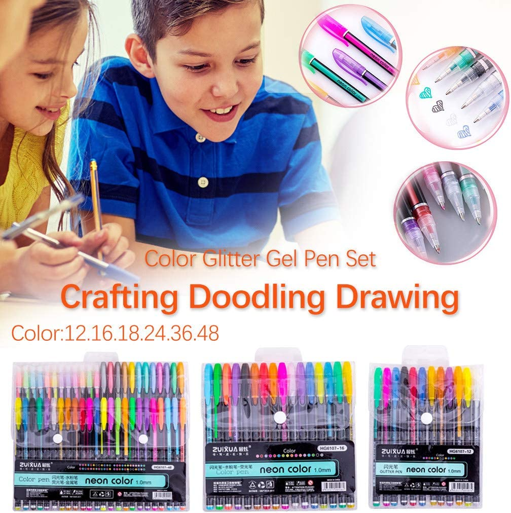 Color Glitter Gel Pen Set,Starwak Colored Fine Tip Markers for Adult Coloring Book Doodling Crafting Scrapbooking DIY Greeting Cards Drawing Painting Art Project,Great Back to School Gift 48 Colors