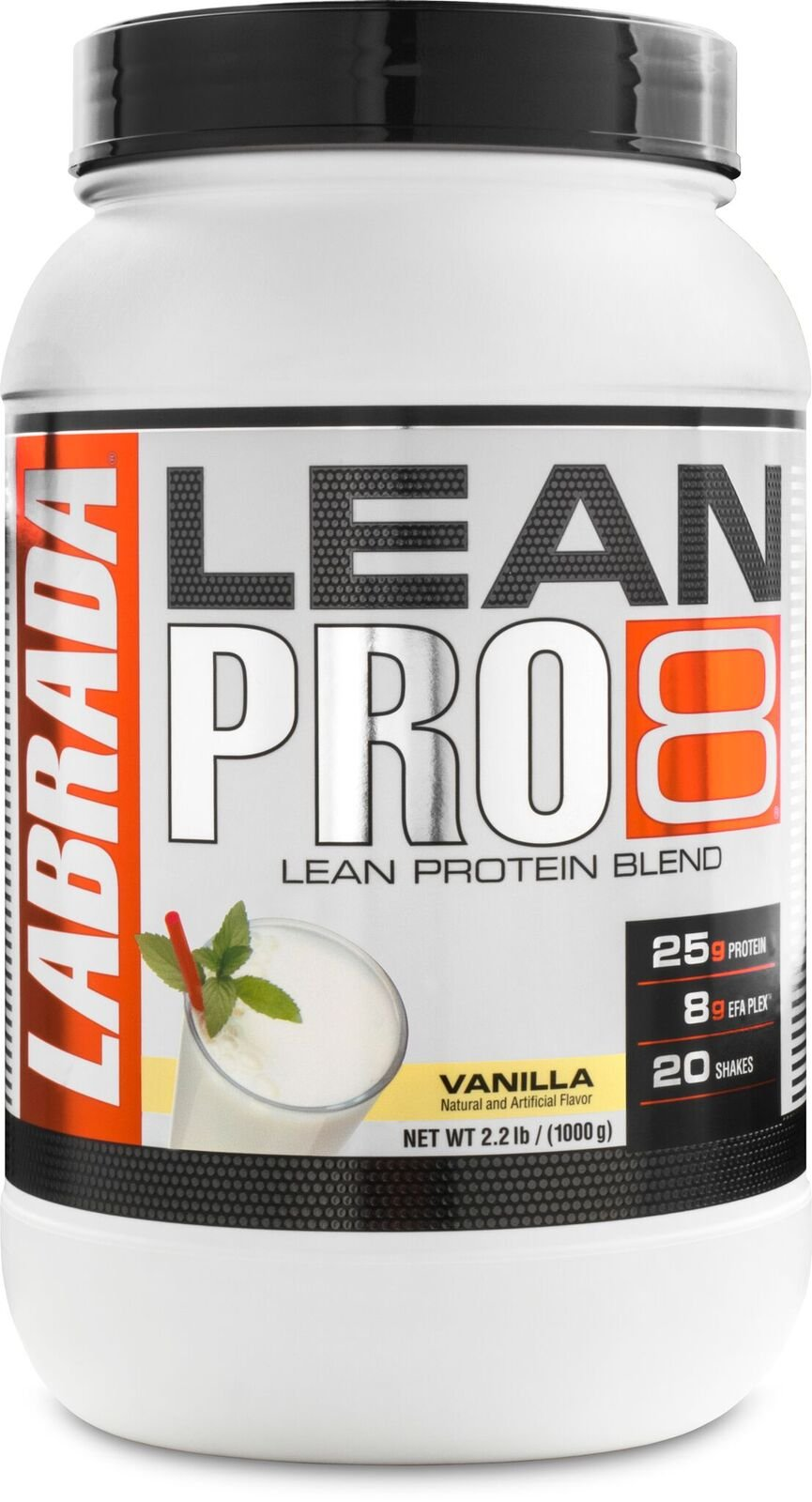 Labrada Nutrition Lean Pro 8, Super Premium Protein Powder with Whey Isolate & Casein for All-Day Lean Muscle Support, Vanilla, 2.2 Pound