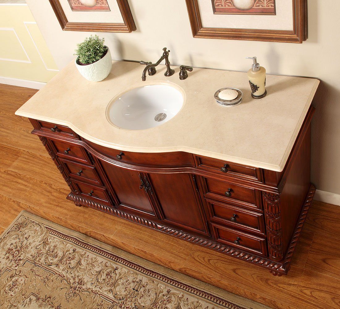 Silkroad Exclusive Creamy Marble Stone Single Sink Bathroom Vanity with Furniture Cabinet, 60-Inch by Silkroad Exclusive (Image #2)