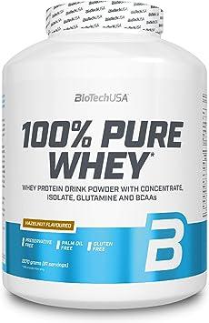 BioTechUSA 100% Pure Whey Complejo de proteína de suero, con aminoácidos añadidos y edulcorantes, sin conservantes, 2.27 kg, Avellana