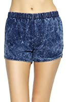 ToBeInStyle Women's Elastic Waist Washed Denim Shorts