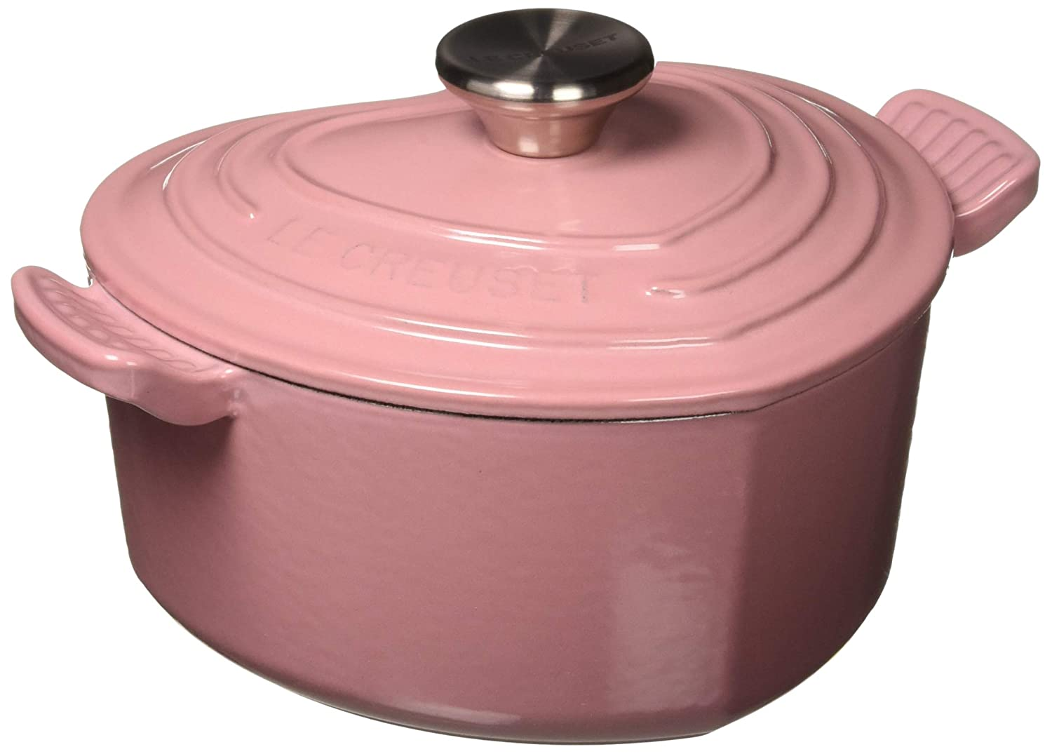 Le Creuset L25C1-028RS Signature Cast Iron Heart Shaped Dutch Oven With Stainless Steel Knob, 2.25 quart, Rose