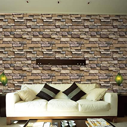 Vintage Faux Stone Brick Wallpaper, 3d Stick Cultural Modern Textured  Stacked Stone Brick Wallpaper Roll