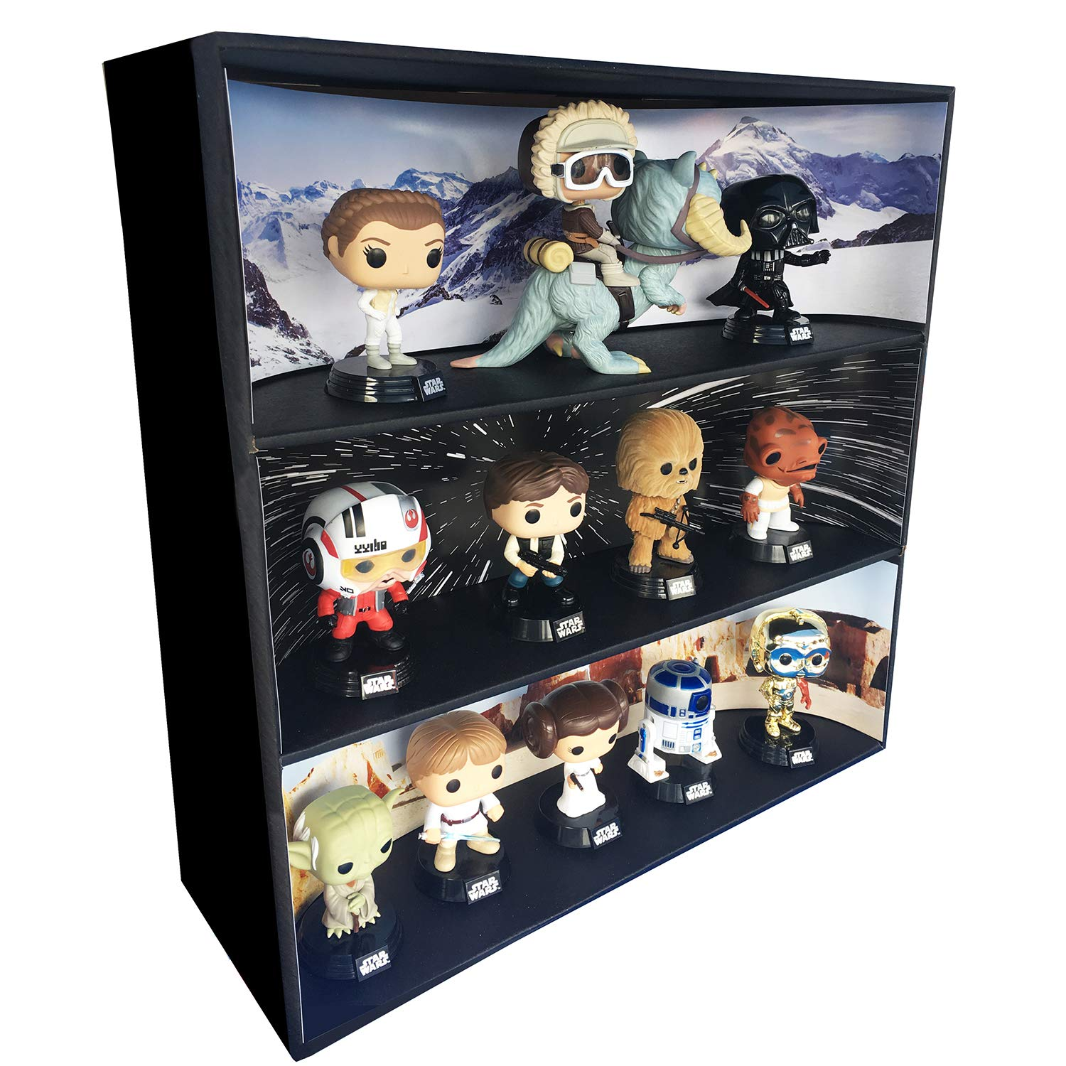 1 Display Geek Stackable Toy Shelf for 4 in. Vinyl Collectibles with 3 Backdrop Inserts, Black Corrugated Cardboard by Display Geek, Inc. (Image #1)