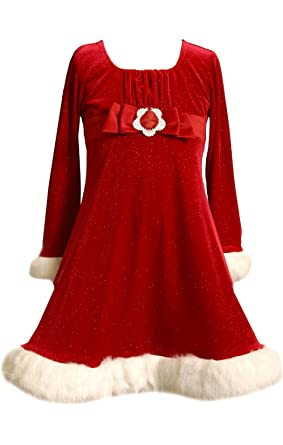 a7c53b175 Bonnie Jean Girls RED Sequin Bow Glitter Velvet Santa Dress (2T, Red)