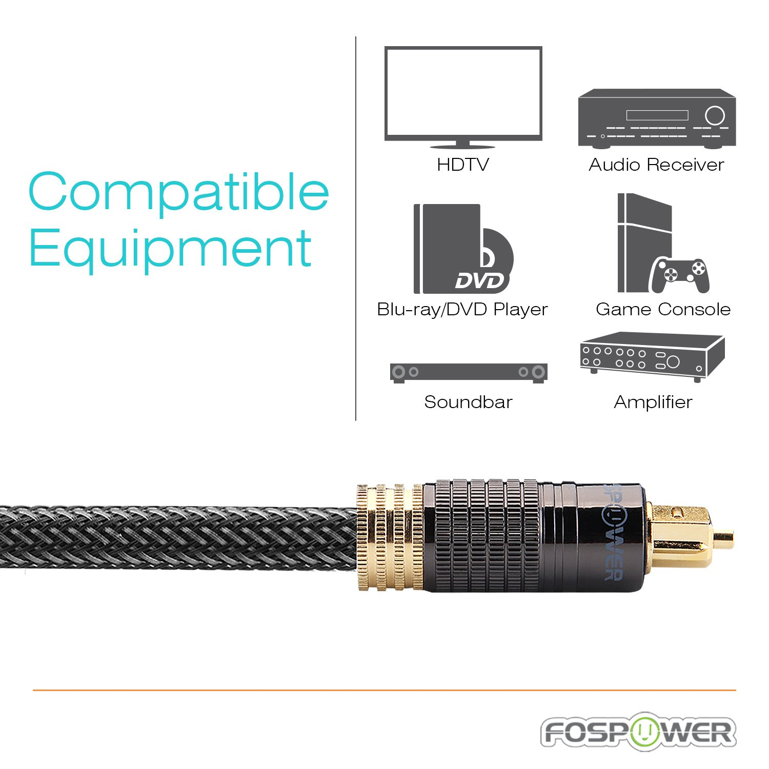 FosPower (25 Feet) 24K Gold Plated Toslink Digital Optical Audio Cable (S/PDIF) - [Zero RFI & EMI Interference] Metal Connectors & Ultra Durable Nylon Braided Jacket by FosPower (Image #8)