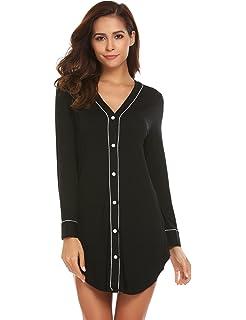32730f8a8d Ekouaer Womens Long Sleeve Sleep Shirt V-Neck Loose Nightshirt Sleepwear  Nightgown Pajama PJ S