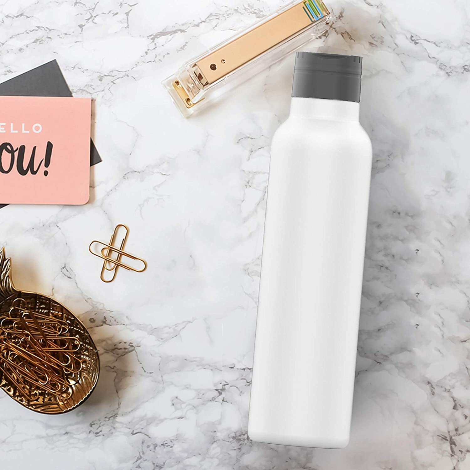 White Standard Mouth with BPA Free Cap with Handle Holiday Season 1-8 Family Pack SimpleHH 23 OZ Double Wall Vacuum Insulated Stainless Steel Leak Proof Sports Water Bottle