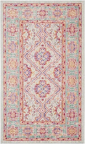 Safavieh Windsor Collection WDS315S Spa and Fuchsia Vintage Distressed Bohemian Runner 3 x 10