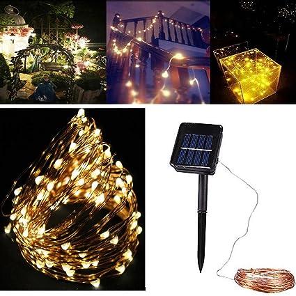 linangx 10 m 100 LED funciona con energía solar guirnalda de luces para interior/al