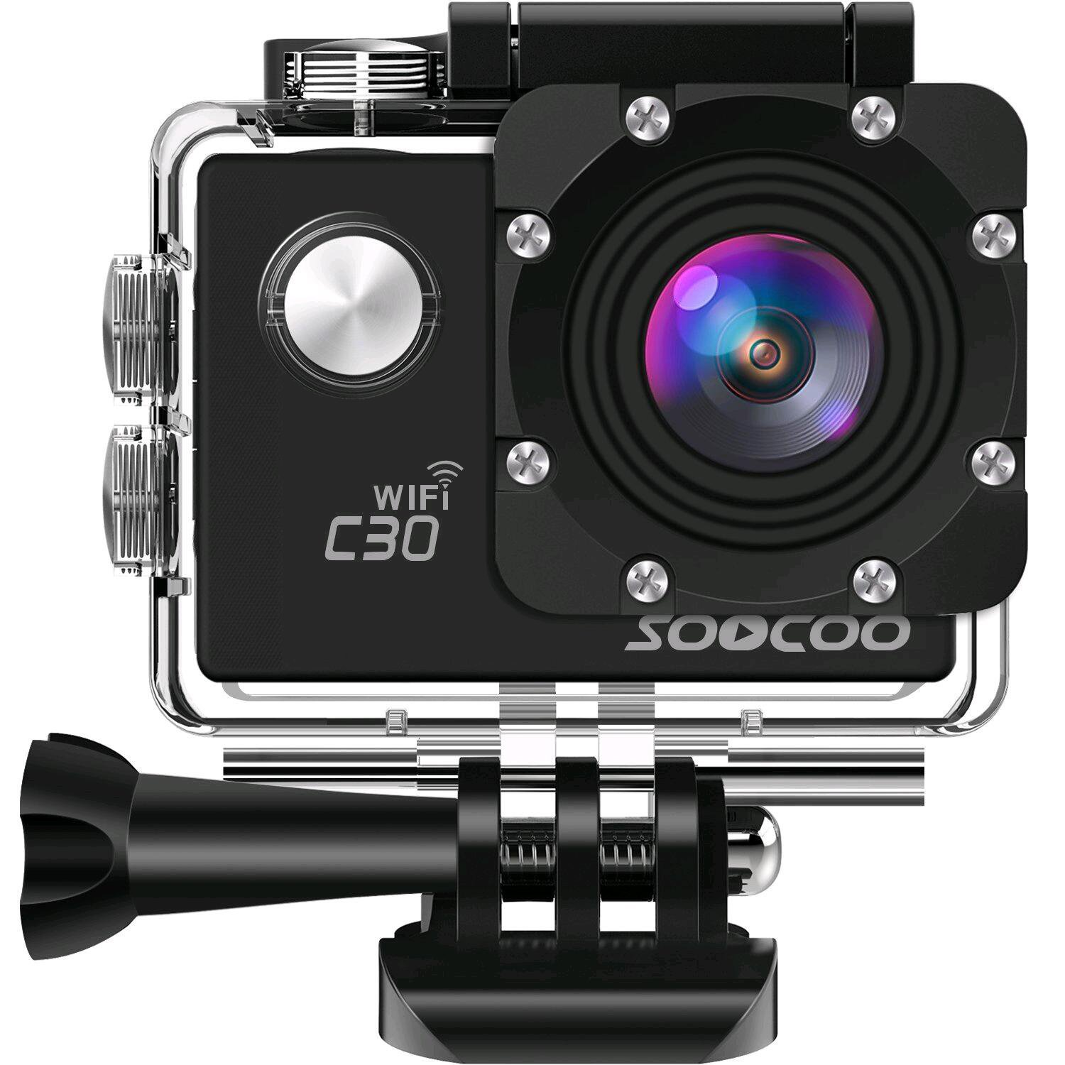 4K WIFI Action Camera Waterproof Cam,SOOCOO C30 Video Sport Camera 20MP 2'' LCD 170 degree Wide-angle 30M Underwater Camcorder With 2x1350mAh Batteries 18 Accessories Kit (SD Card Not Included) - Black