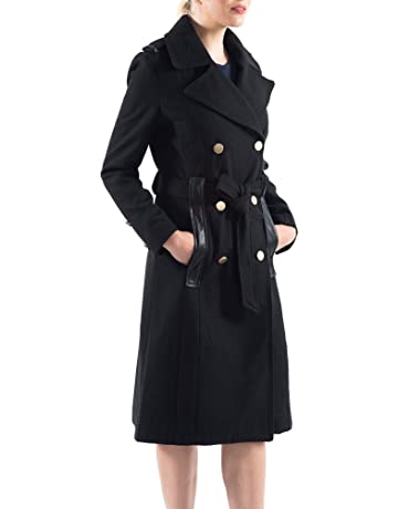 07687ec52c4 alpine swiss Womens Trench Coat Wool Double Breast Jacket Gold Buttons with  Belt