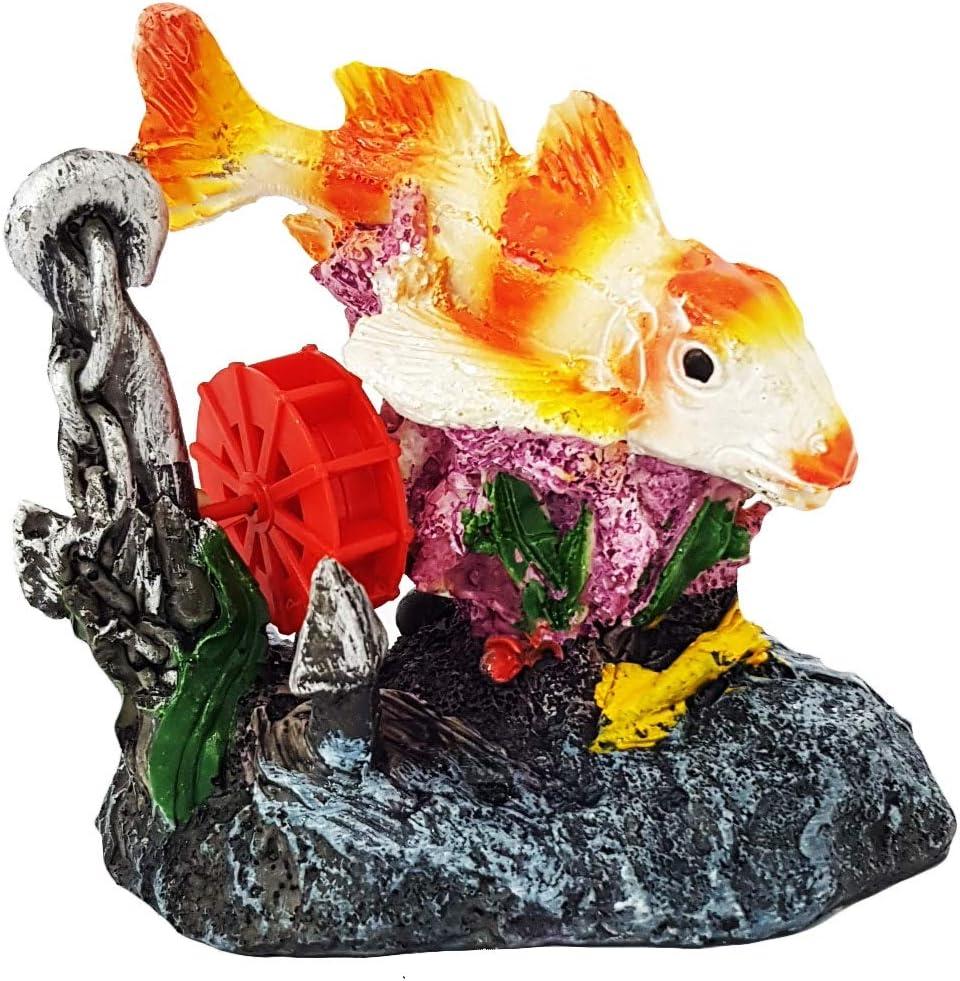 takestop® Carpa con Molino todavía Roca 10.5x 12x 8.5cm jardín Submarino Ornamento para Acuario Decoraciones decoración Piedra