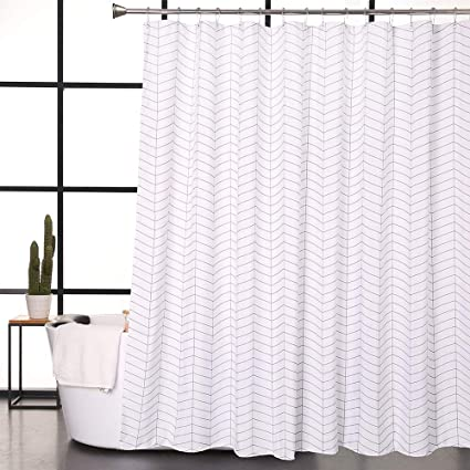 Amazon Aimjerry Water Repellent Striped Fabric Shower Curtain