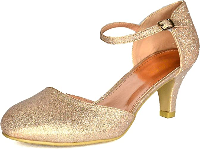Women Mid Heel Mary Jane Glitter Party