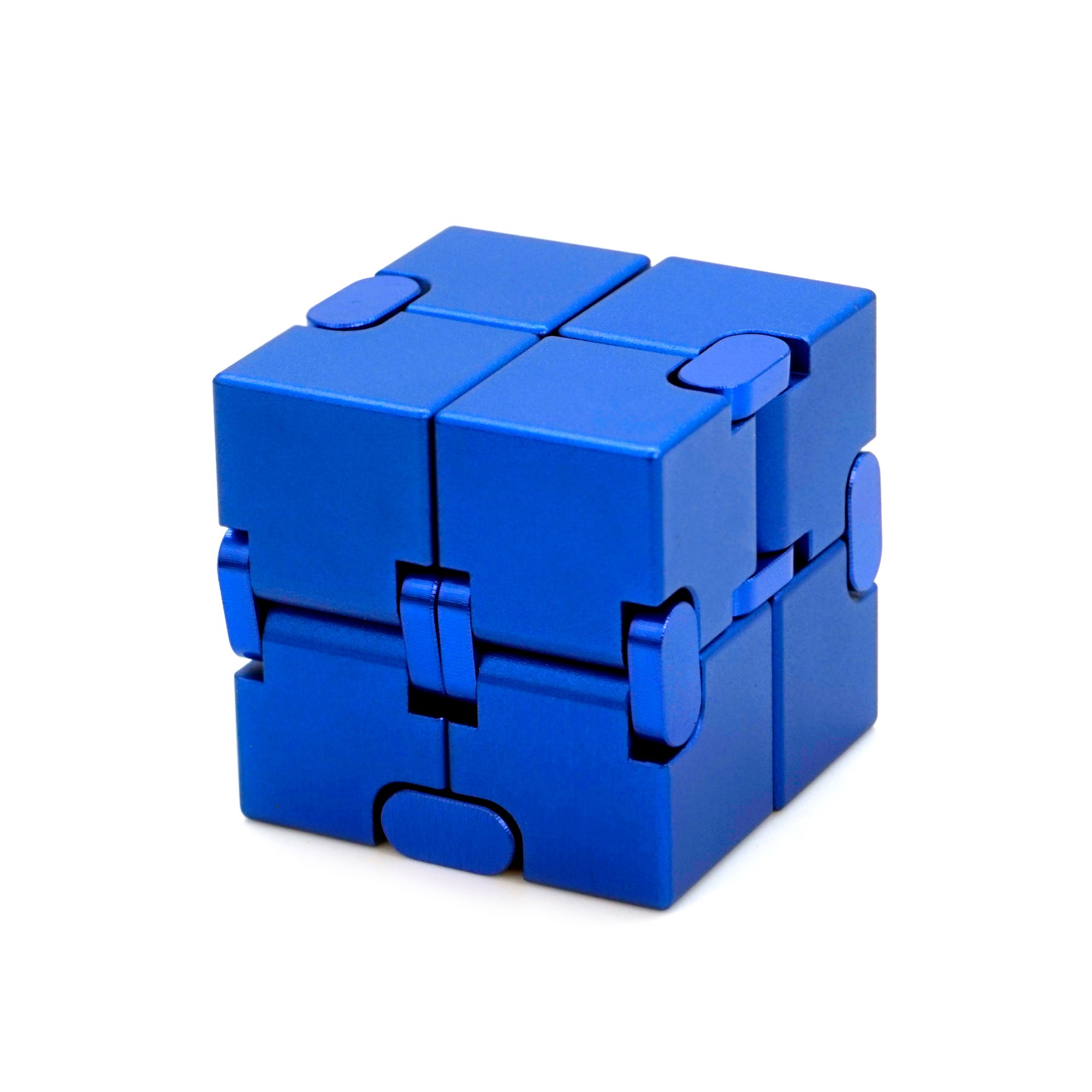 Gazeto Metal Infinity Cube, Durable Aluminum Alloy Decompression Toys, Pressure Reduction Educational Toys Stress Relief Toy Games Square Cube for Adult and Children Blue