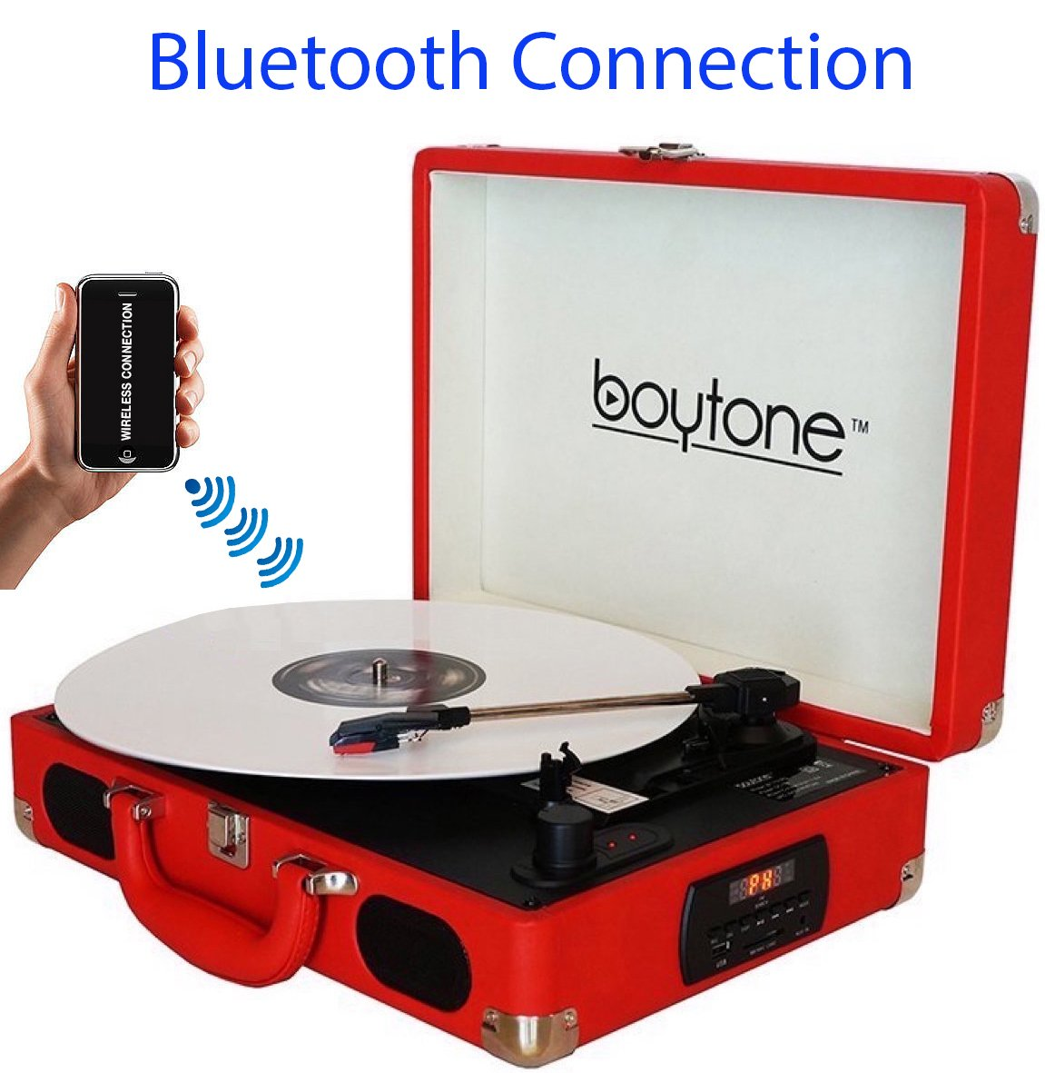 Boytone BT-101RD Bluetooth Turntable Briefcase Record player AC-DC, Built in Rechargeable Battery, 2 Stereo Speakers 3-speed, LCD Display, FM Radio, USB/SD,RCA, AUX / MP3, Encoding, 110/220 Volt.