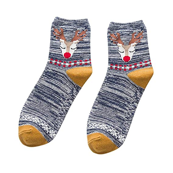 VJGOAL Moda casual mujer Elk de Navidad tejido liso Estampado fino Cómodo Transpirable Calcetín de algodón Medias medias(Un tamaño, Azul marino): Amazon.es: ...