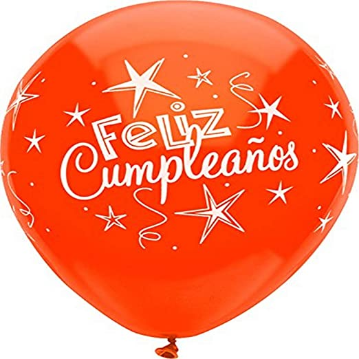 PartyMate 42861 Printed Latex Balloons, 8 CT, Feliz Cumpleanos