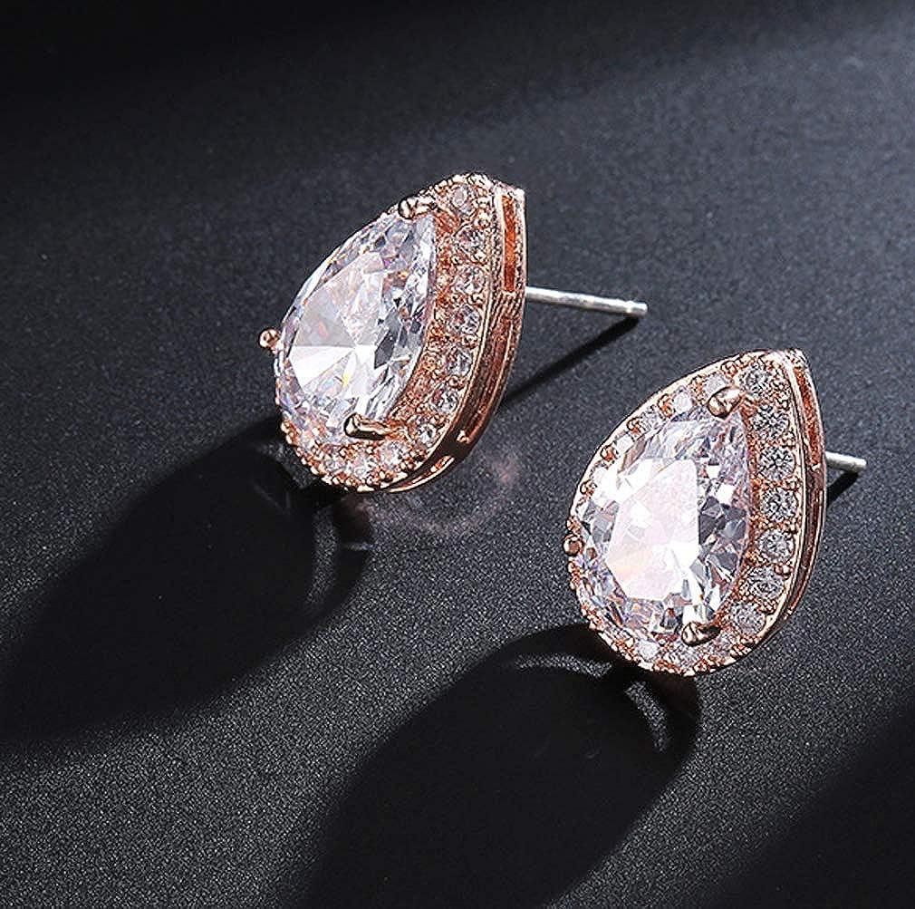 Oriamour Womens Cubic Zirconia Wedding Teardrop Stud Earrings