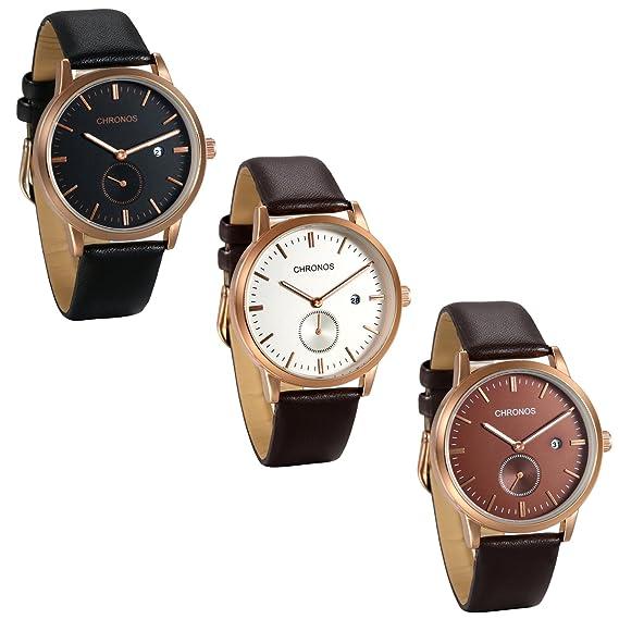 JewelryWe 3pcs Reloj de Hombre Caballero Correa de Cuero Retro Vintage, Reloj con Calendario,