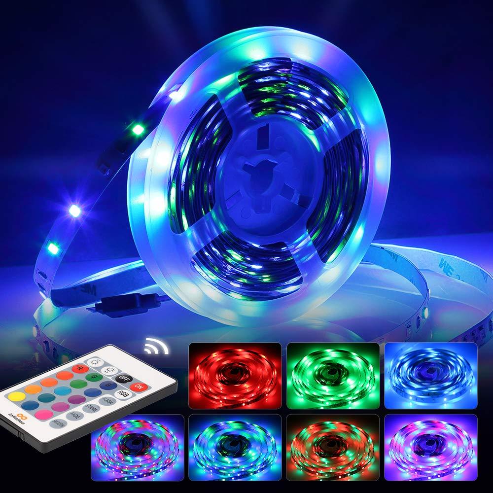 LED Strip | infinitoo RGB LED Strip 5M LED Band Lichtband Streifen | Bunt LED Leiste Lichtleiste Bänder inkl. Fernbedienung, Farbwechsel, Selbstklebend Lichterkette Led IN3-A003