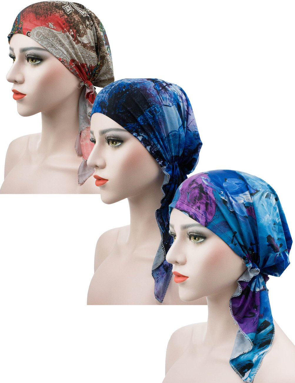 Luccy K Cancer Scarf Adjustable Chemo Beanies, Chemo Head Cap, Head Scarf, Hat for Women Cancer Patients (3PACK-JH9956)