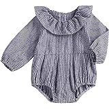 Pudcoco Baby Girls Striped Ruffle Sleeve Bubble Romper Big Bowknot Bodysuit