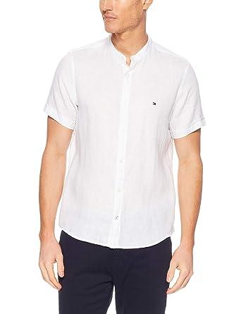 d52a210354dcab TOMMY HILFIGER Men s Mandarin Collar Short Sleeve Linen Shirt ...