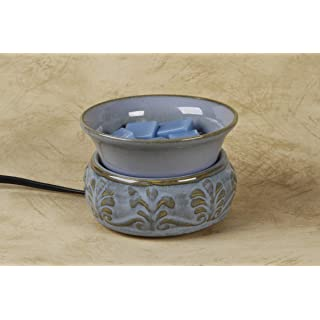 "Darice Ceramic Electric Wax Warmer, Embossed Light Blue – 4.5"" x 3 ⅛"" – Includes a 25-Watt Halogen Bulb, Electric Wax Melter with Easy to Clean, Removable Dish"