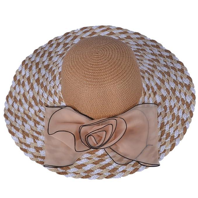 TYGRR 5PCS Estate Cappello Di Paglia La Signora Grande Cappello A Tesa Sole  Cappello Della Spiaggia 7350e909617b