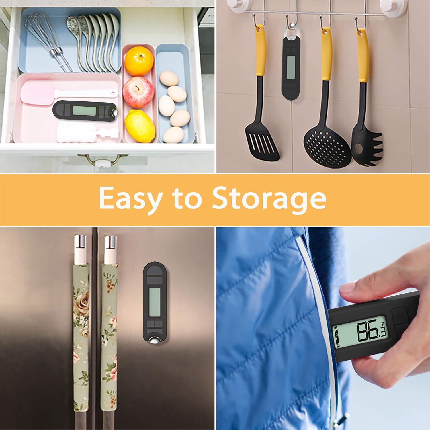 Household Thermometer Set (Non-contact Digital Laser Infrared Thermometer Gun, Dial Oven Thermometer, Dial Fridge Fridge Thermometer, Digital Pocket Foldable Probe Meat Thermometer) by ElephanTrans