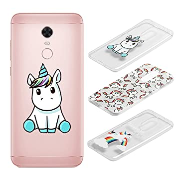 [3 Pack] Funda Xiaomi Redmi 5 Plus, Weideworld 3D Patrón Flexible Ultra Slim TPU Silicona Back Carcasa Funda para Xiaomi Redmi 5 Plus, Unicornio