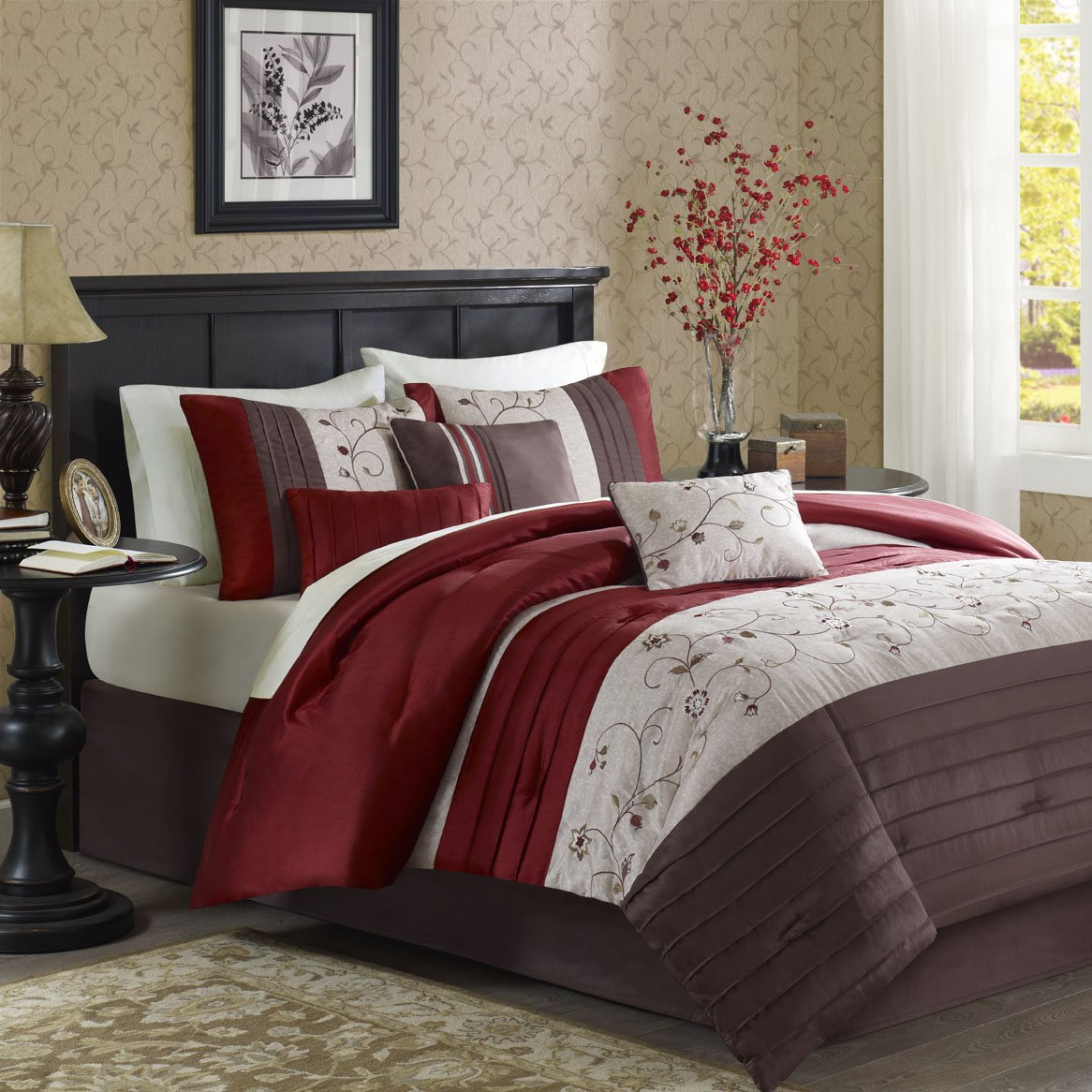 Brown and red bedding - Amazon Com Madison Park Serene 6 Piece Duvet Cover Set King California King Red Home Kitchen