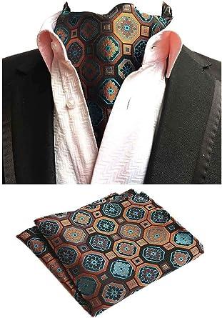 MOHSLEE Mens Brown Plaid Formal Ascot Jacquard Woven Cravat Scarf Neckties Ties
