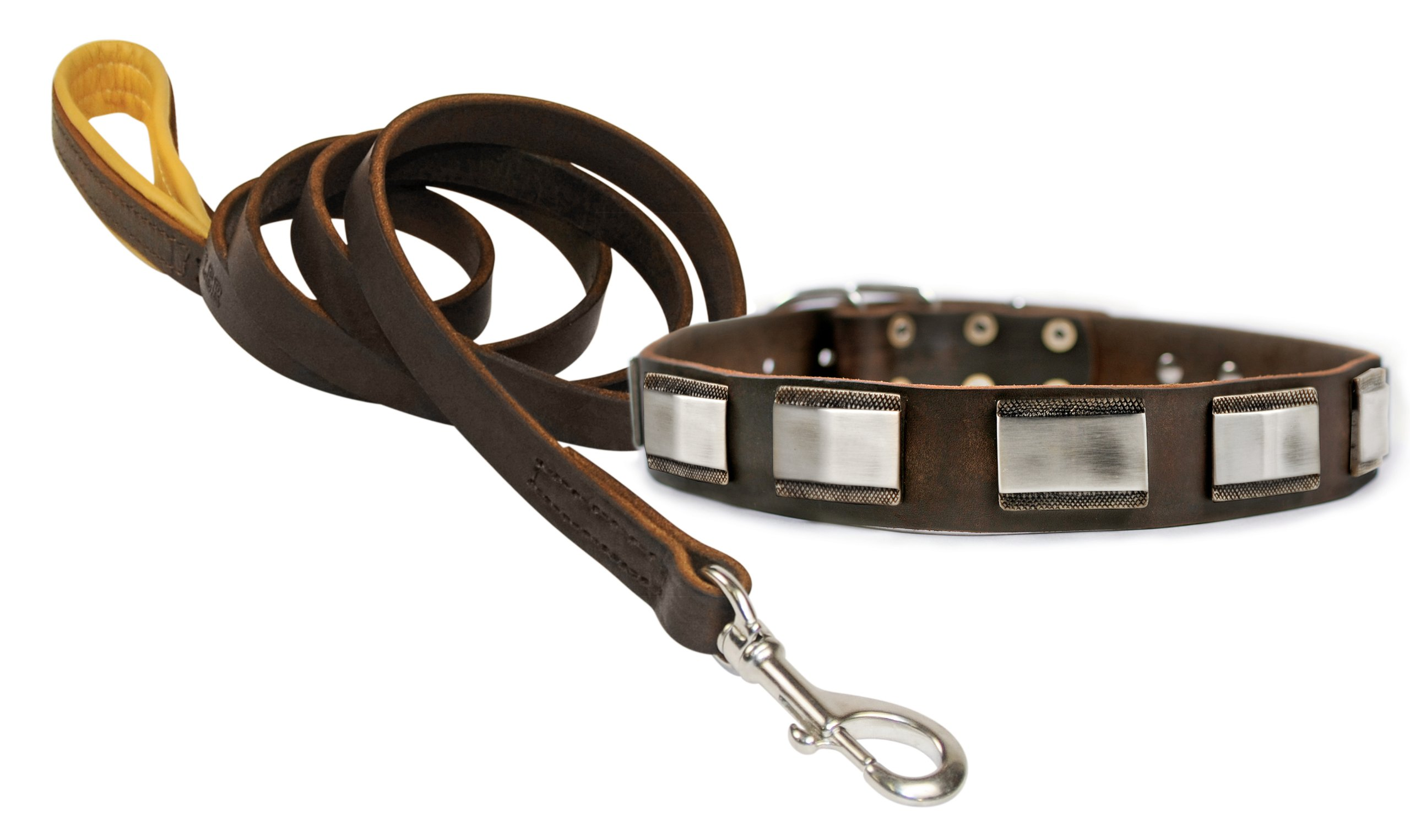 Dean and Tyler Bundle - One ''White Light'' Collar 38-Inch by 1-1/2-Inch With One Matching ''Soft Touch'' Leash, 6 FT Stainless Steel Snap Hook - Brown