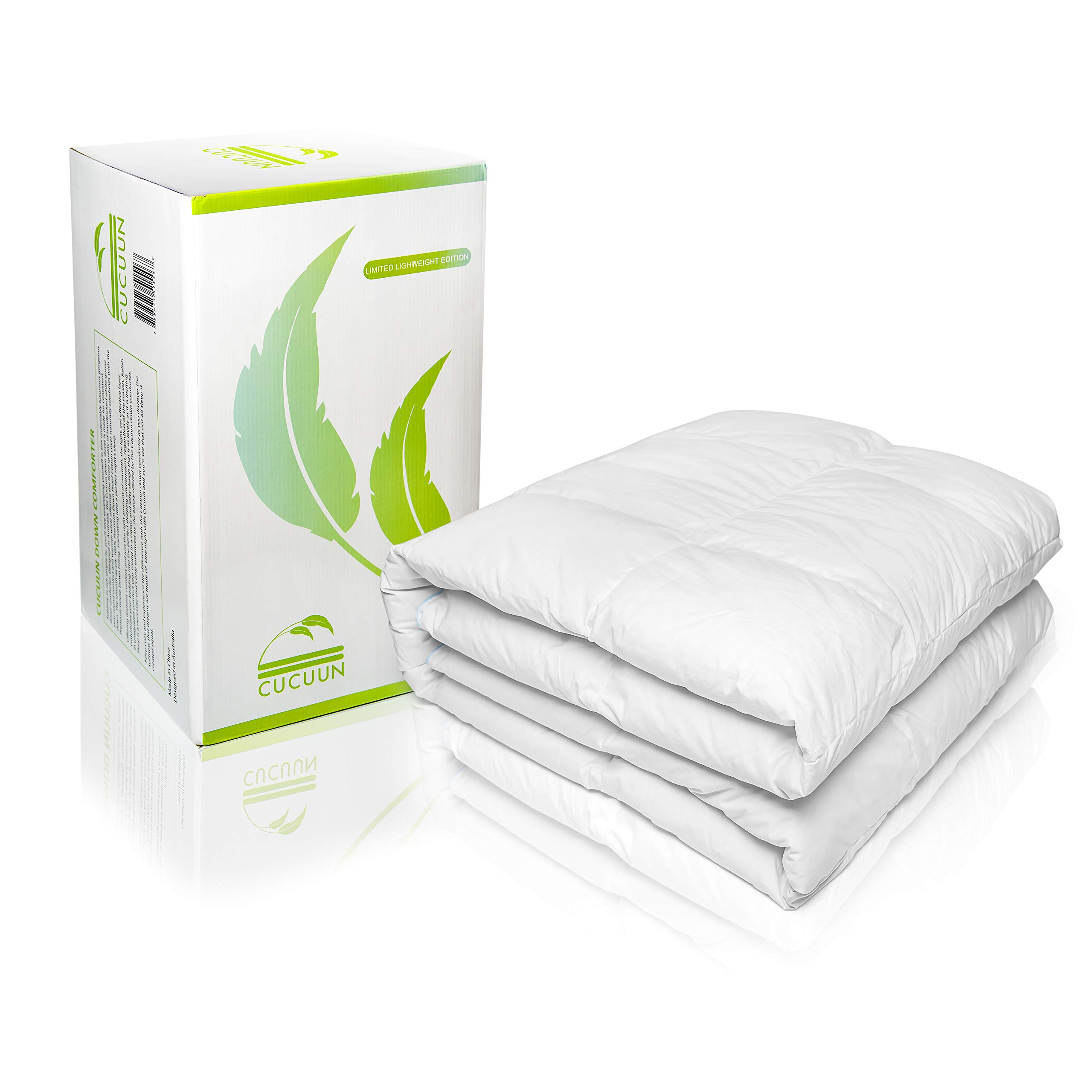 Cucuun Summer Lightweight Goose Down Comforter King Size Duvet Insert Solid White 1200 Thread Count 750+ Fill Power 100% Egyptian Cotton Shell Hypo-allergenic Down by Cucuun (Image #3)