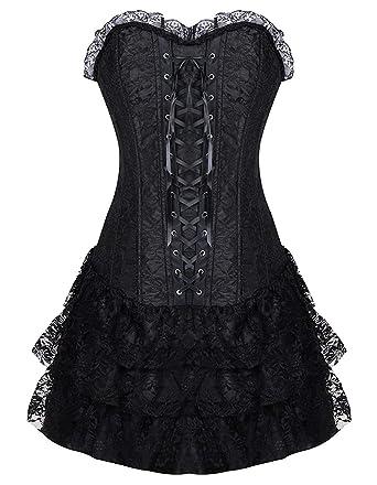 8da0575a4620 Burvogue Women's Gothic Steampunk Corsets and Bustiers Dress Green, Black,  ...