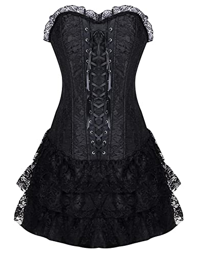 6d9ae6d03e6b Burvogue Women's Gothic Steampunk Corsets and Bustiers Dress Green:  Amazon.co.uk: Clothing