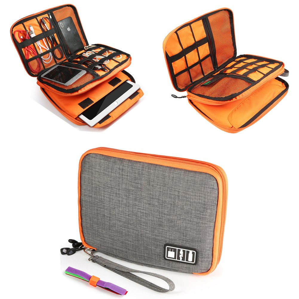 Zonama Electronics Travel Organizer, Double Layer Electronics Organizer Travel Cord Organizer Cable Storage Gadget Bag for iPad,USB Cable, Charger,Cellphone, Cable Ties Included, Gray and Orange