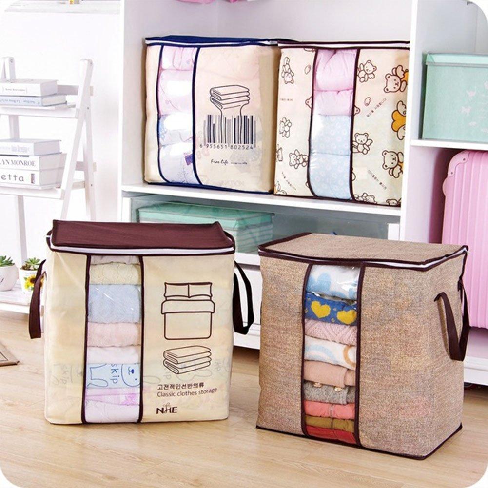 Ocamo Storage Bag Portable High Capacity Non-woven Clothes Folding Closet Organizer for Pillow Quilt Blanket Bedding