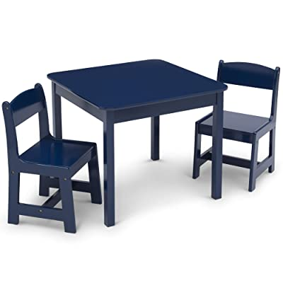 Delta Children MySize Kids Wood Table and Chair Set (2 Chairs Included) - Ideal for Arts & Crafts, Snack Time, Homeschooling, Homework & More, Deep Blue : Baby
