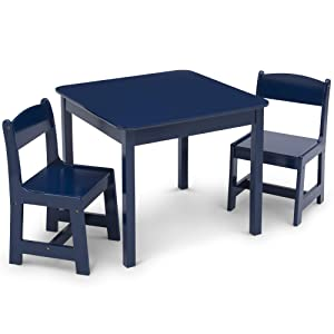 Delta Children MySize Kids Wood Table and Chair Set (2 Chairs Included) - Ideal for Arts & Crafts, Snack Time, Homeschooling, Homework & More, Deep Blue