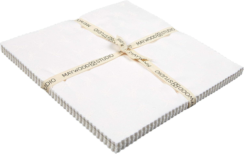 0692103 Maywood Studio Precut Solitaire Whites 10 Squares 42pcs Soft White
