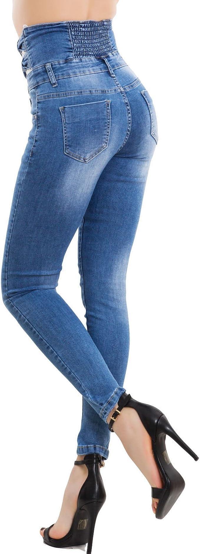 Jeans donna pantaloni skinny vita alta elasticizzati slim pizzo nuovi M5875